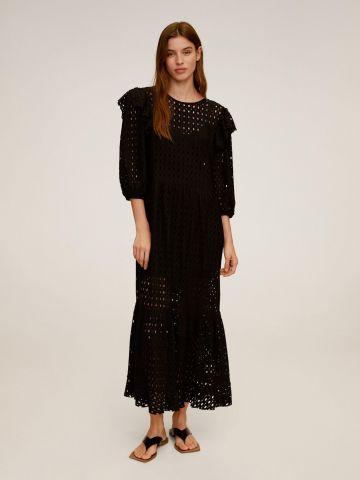שמלת מקסי בטקסטורת חירורים עם מלמלה של MANGO