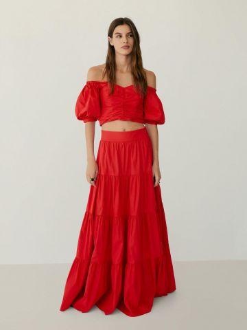 חצאית מקסי מתרחבת בסגנון קומות של MANGO