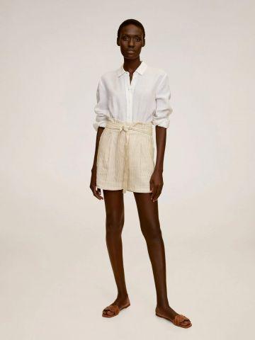 מכנסי פשתן קצרים בהדפס פסים עם חגורה