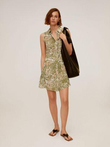 שמלת מיני מכופתרת בהדפס טרופי של MANGO