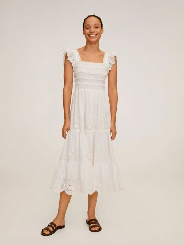 שמלת מידי קומות עם עיטורי רקמה של MANGO