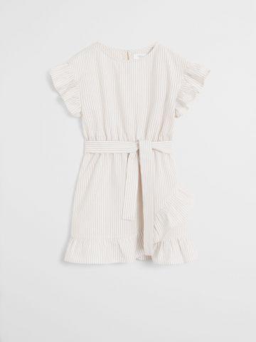 שמלה בהדפס פסים בשילוב מלמלה וחגורת קשירה / בנות של MANGO