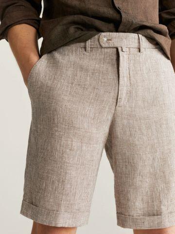 מכנסי ברמודה פשתן בהדפס משבצות