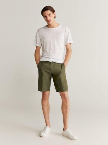 מכנסי פשתן בסגנון ברמודה של MANGO