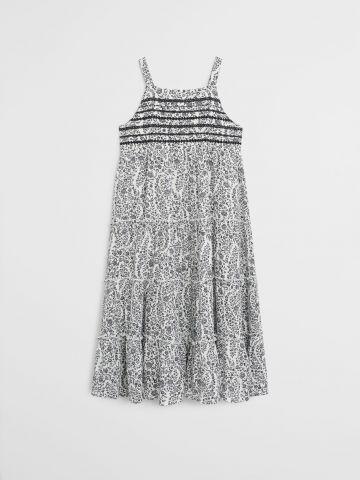 שמלת מידי קומות בהדפס פרחים בשילוב רקמה / בנות של MANGO