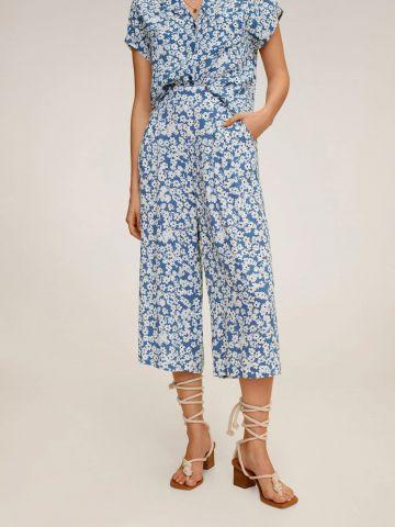 מכנסי קרופ רחבים בהדפס פרחים