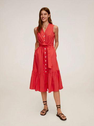 שמלת מידי פפלום עם כפתורים של MANGO