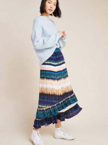 חצאית מקסי שכבות בהדפס אבסטרקטי Daniel Rainn