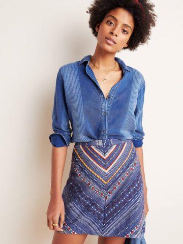 חצאית מיני ברקמת צורות גיאומטריות Maeve