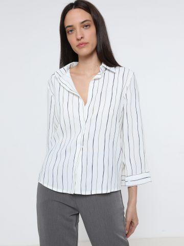 חולצה מכופתרת בהדפס פסים של YANGA