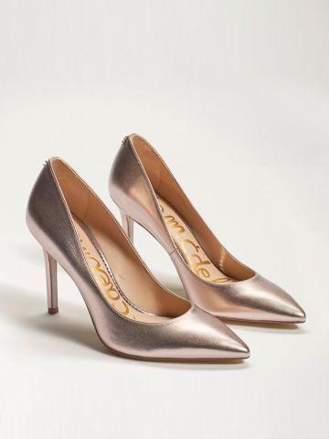 נעלי עקב עור בגימור מטאלי Hazel