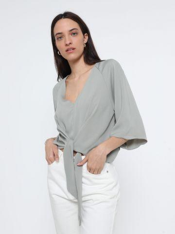 חולצה מבד נשפך עם קשירה