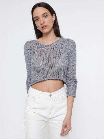 חולצת קרופ סרוגה עם שרוולים ארוכים