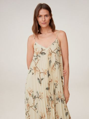 שמלת מידי פליסה בהדפס פרחים של MANGO