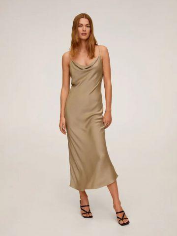 שמלת מקסי סאטן עם צווארון נשפך