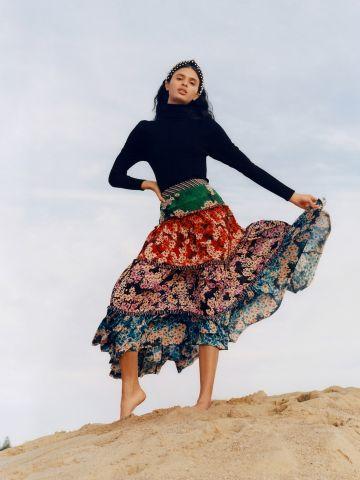 חצאית מקסי קומות פרחים