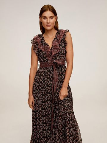 שמלת מקסי מתרחבת פפלום בשילוב מלמלה וחגורת קשירה של MANGO