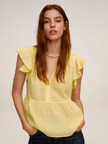 חולצת פפלום עם כפתורים ושרוולי מלמלה