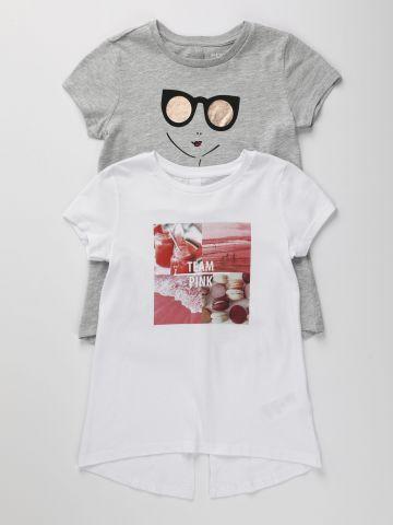 מארז 2 חולצות טי שירט עם שסע בגב / בנות