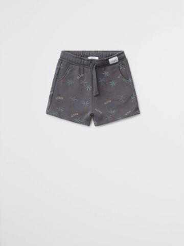 מכנסי טרנינג קצרים בהדפס עצי דקל / 9M-4Y