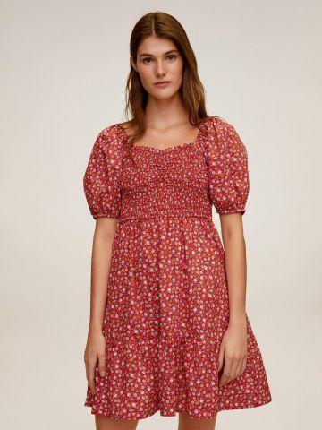 שמלת מיני מתרחבת בהדפס פרחים עם גומיה תואמת