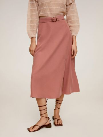 חצאית מידי עם חגורה הידוק