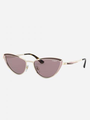משקפי שמש עיני חתול עם מסגרת מתכת / נשים