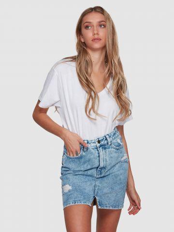 חצאית ג'ינס מיני עם שסע של BILLABONG