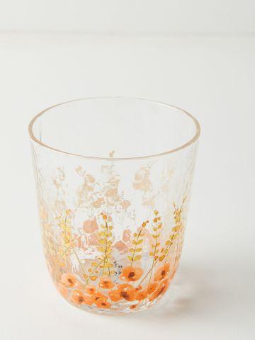 כוס זכוכית בהדפס פרחים Clemence