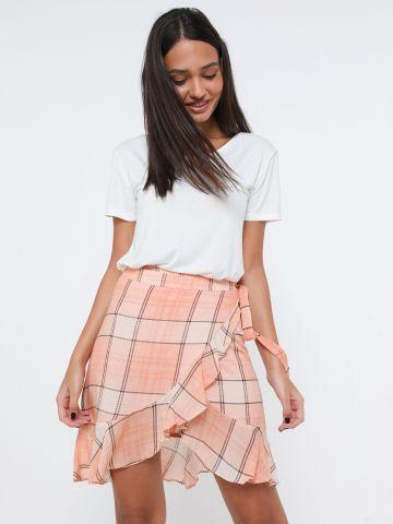 חצאית מיני מעטפת בהדפס משבצות