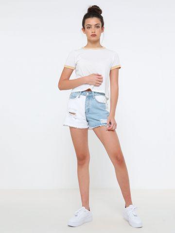 ג'ינס קצר קולור בלוק