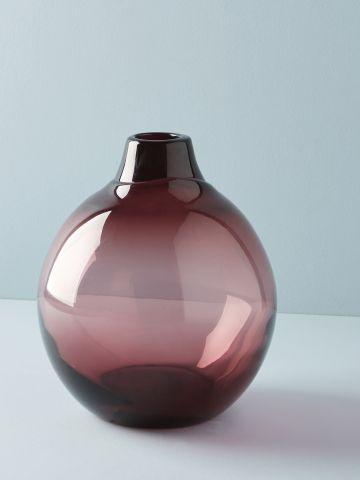 אגרטל זכוכית עגול עם צוואר בקבוק / בינוני