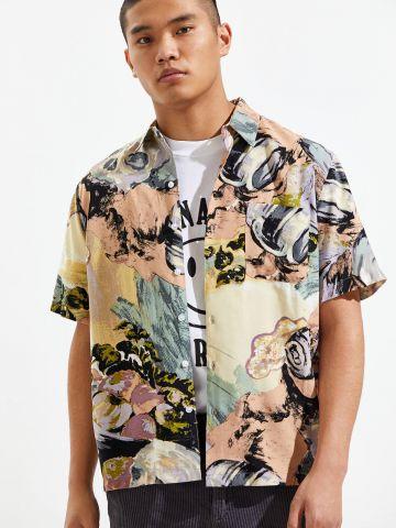 חולצת מכופתרת בהדפס אבסטרקטי UO
