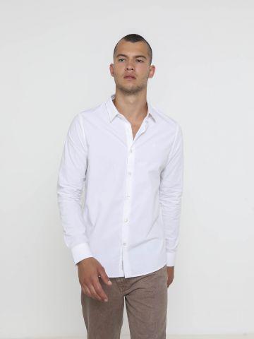 חולצה מכופתרת עם רקמת לוגו של CALVIN KLEIN