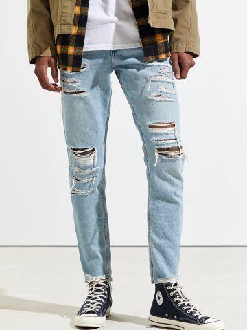 ג'ינס קרעים בשטיפה בהירה Skinny BDG