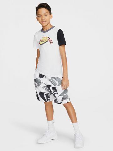 מכנסיים קצרים בהדפס לוגו עם רשת פנימית