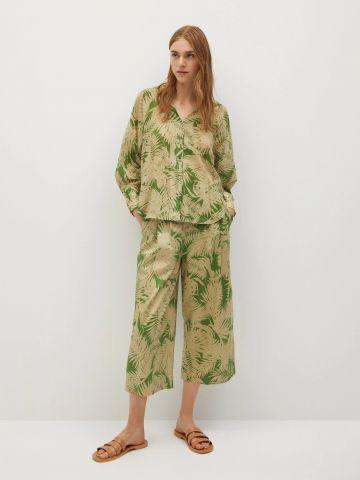 מכנסיים רחבים בהדפס טרופי Culotte של MANGO