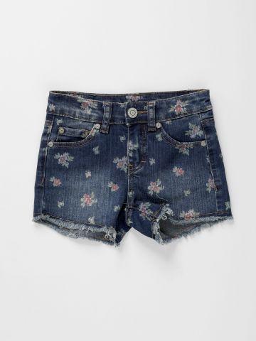 ג'ינס קצר בהדפס פרחים / בנות