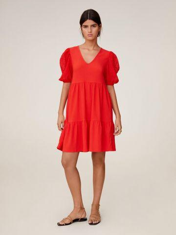 שמלת מיני קומות בטקסטורה עם שרוולים נפוחים
