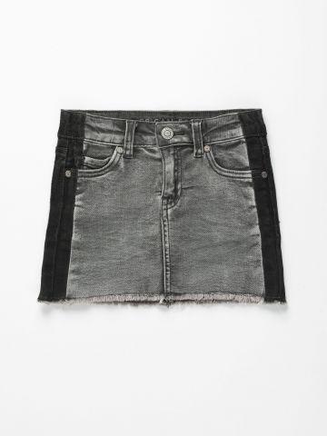 חצאית ג'ינס עם פסים בשטיפה כהה / בנות