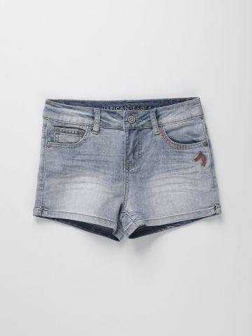 ג'ינס קצר עם עיטורי רקמה / בנות של AMERICAN EAGLE