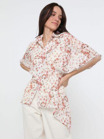 חולצה מכופתרת אסימטרית בהדפס פרחים