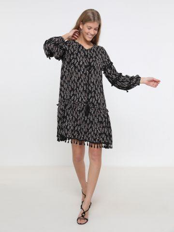 שמלת מיני בהדפס עלים