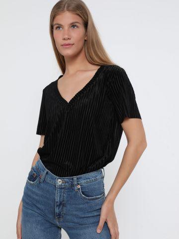 חולצת קטיפה פסים עם שרוולים קצרים