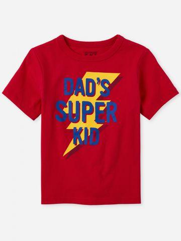 טי שירט עם הדפס Dad's Super Kid / 9M-4Y