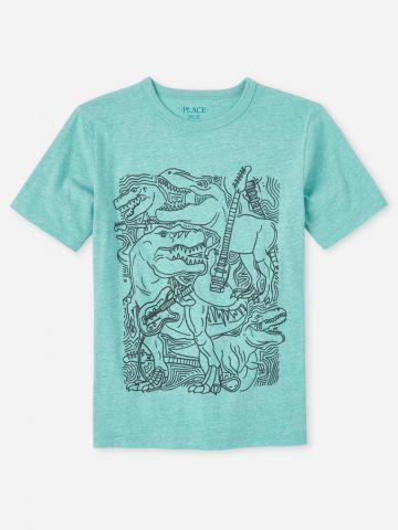 טי שירט עם הדפס דינוזאורים / בנים