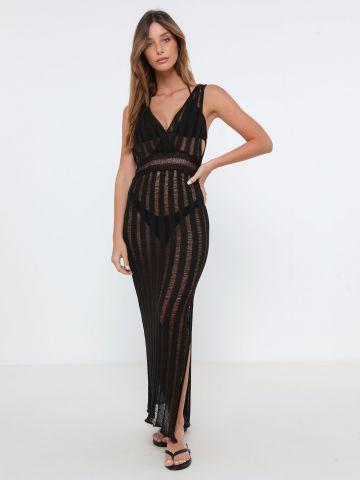 שמלת מקסי סרוגה שקפקפה
