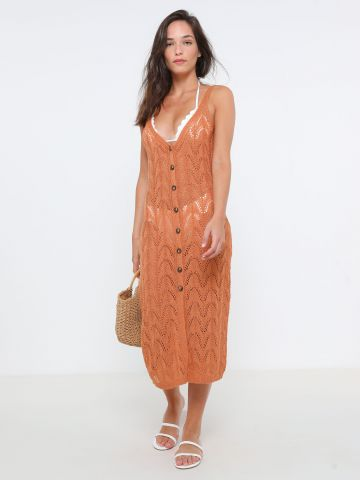 שמלת מקסי סרוגה עם כפתורים