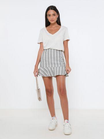 חצאית פשתן פפלום בהדפס פסים