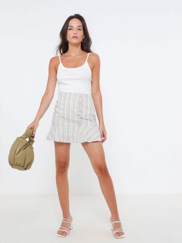 חצאית פפלום בהדפס פסים של TERMINAL X